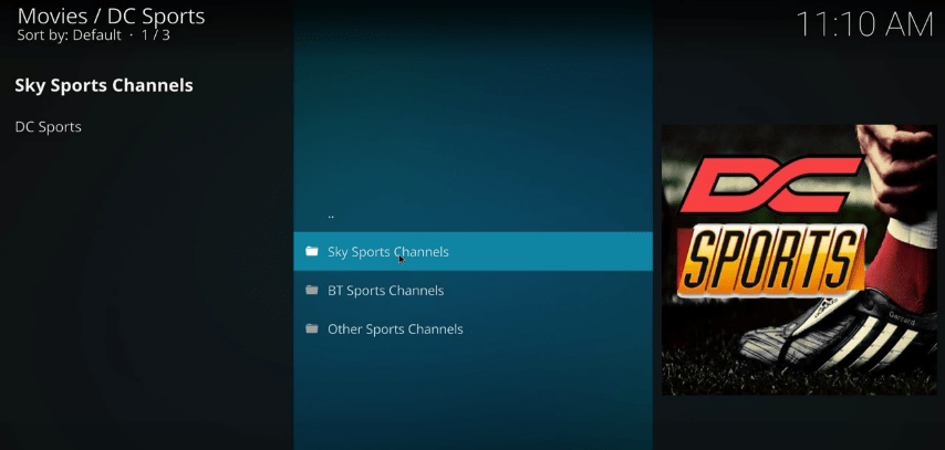 dc sports kodi addon